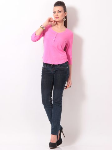 Rigo Pink Henley Neck Tee With Grey Placket at cilory