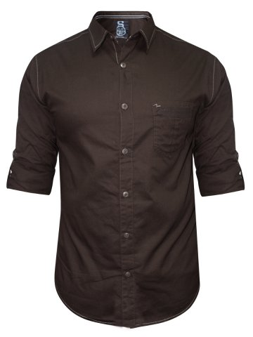 Spykar Pure Cotton Brown Shirt at cilory