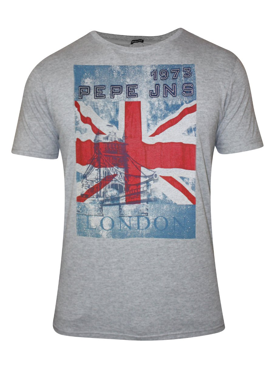 buy t shirts online pepe jeans grey mellange round neck t shirt. Black Bedroom Furniture Sets. Home Design Ideas