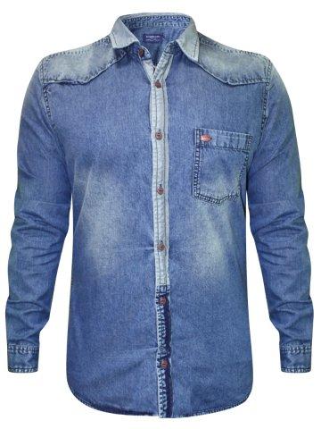 Numero Uno Pure Cotton Blue Shirt at cilory