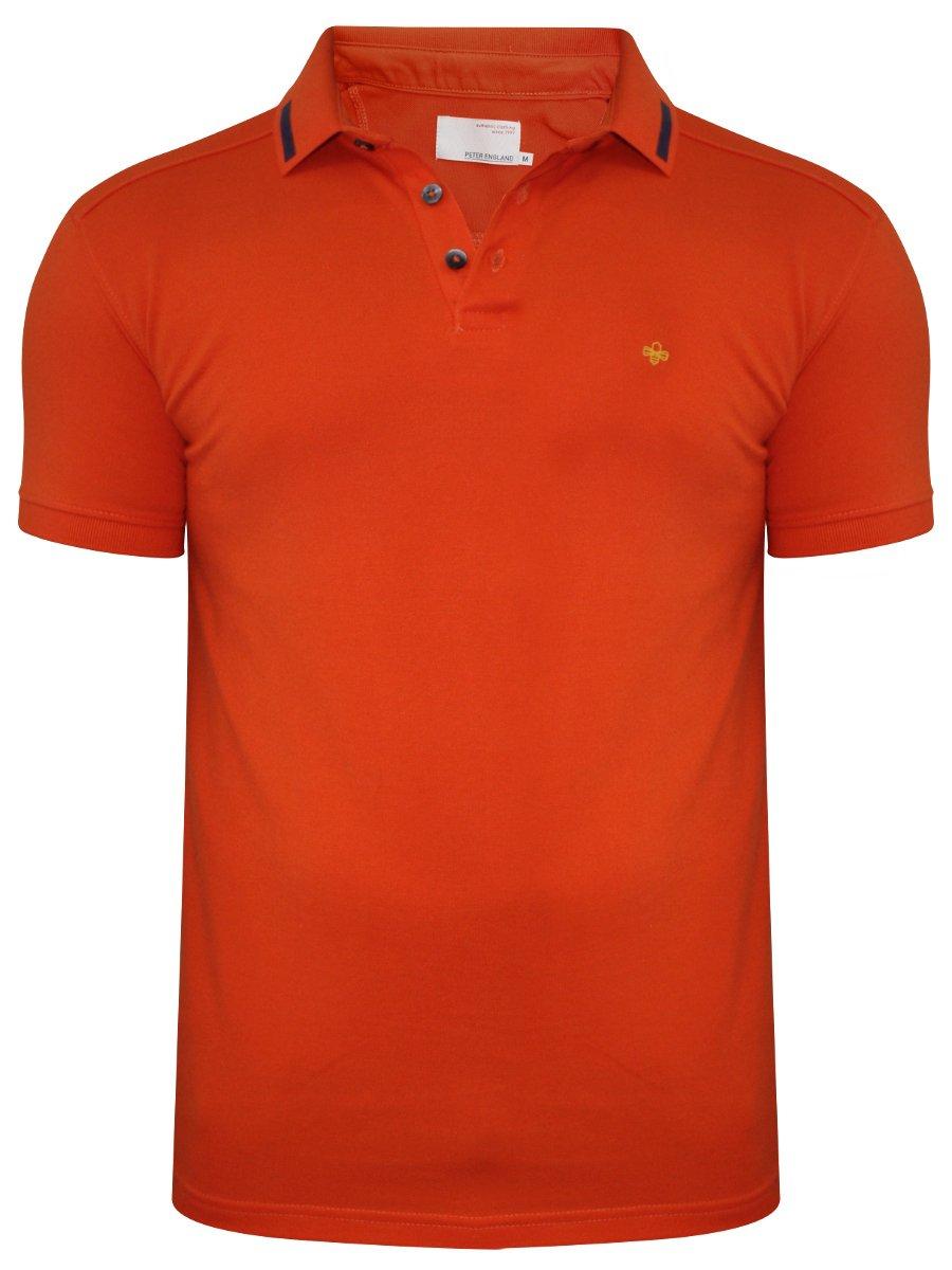 Buy t shirts online peter england orange polo t shirt for Buy t shirts online