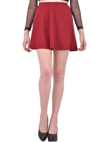 Rigo Solid Maroon Skater Skirt at cilory