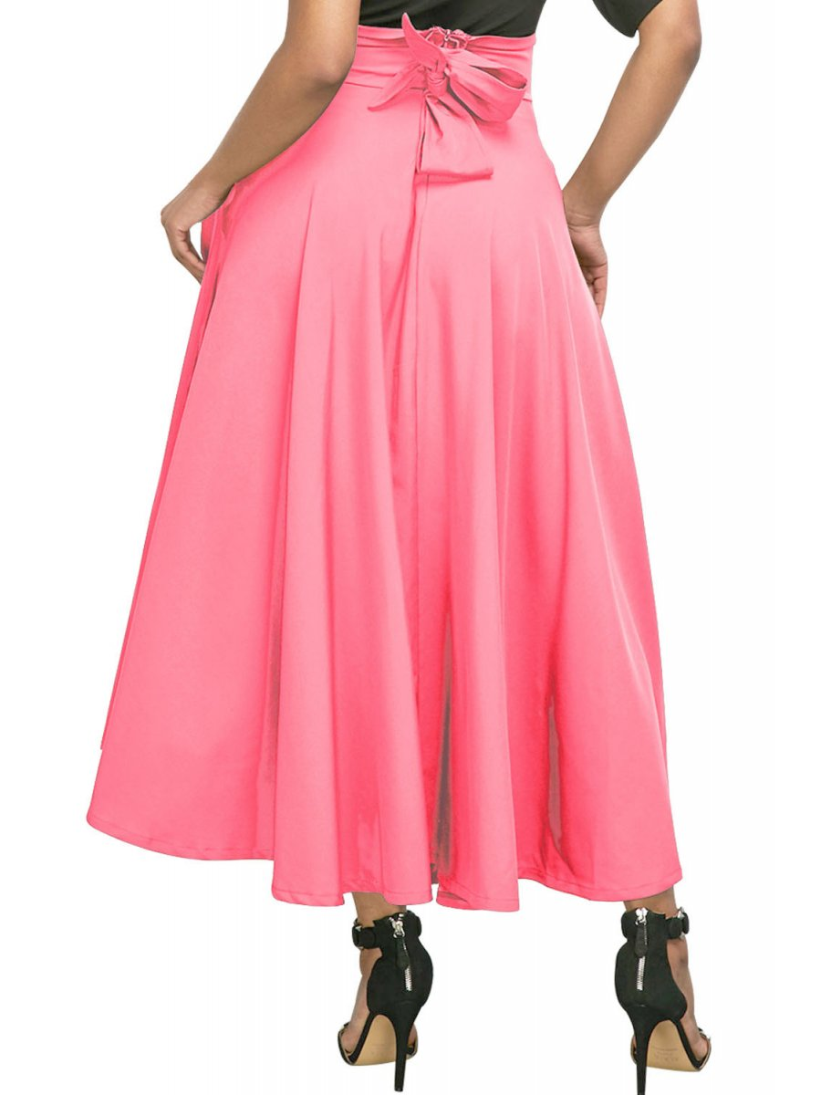 7979f5b36b Pink Retro High Waist Pleated Belted Maxi Skirt | E65053-10 | Cilory.com