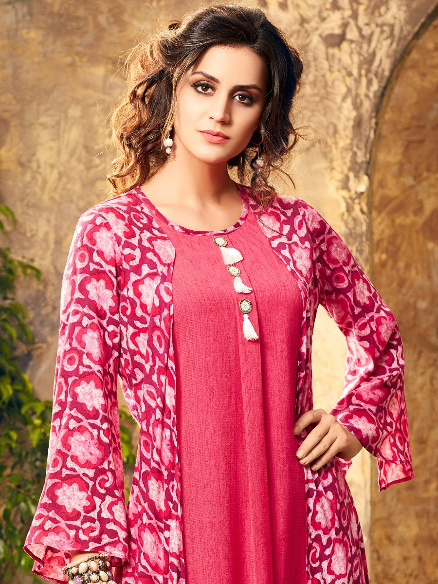 Signature Pink Designer Double Layered Kurti  482923840