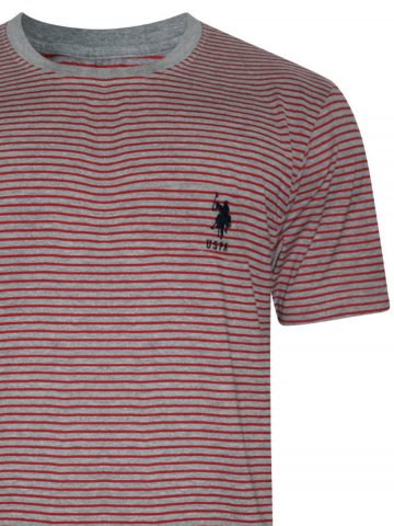 U.S. Polo Grey & Red Round Neck T-Shirt at cilory