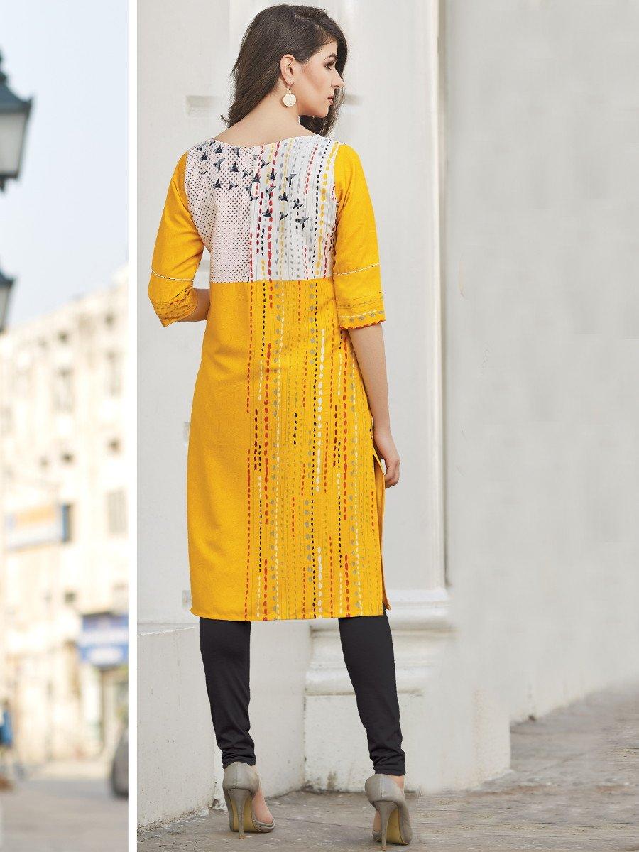 Star Yellow & White Printed Kurti