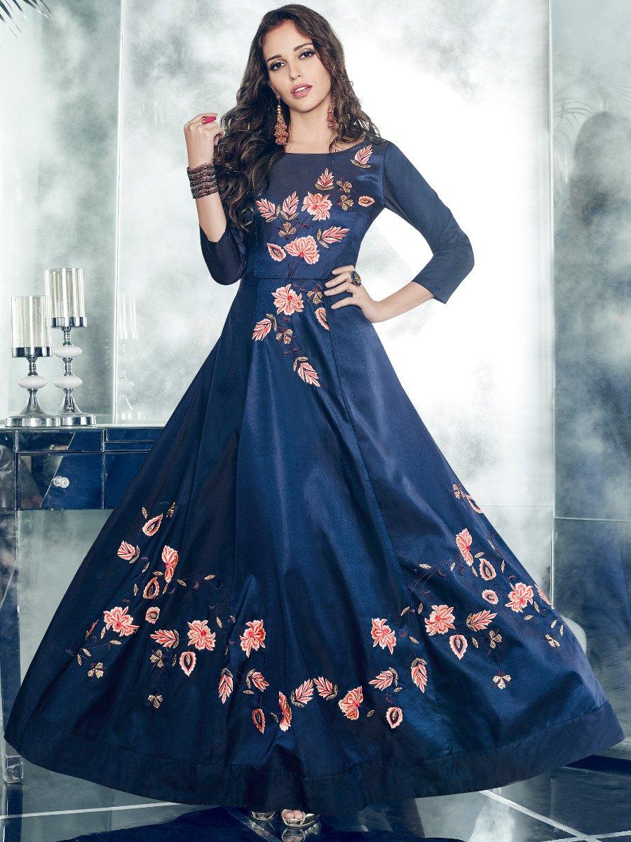 Arihant Navy Blue Gown Style Kurti Arihantnx 11003 Cilorycom