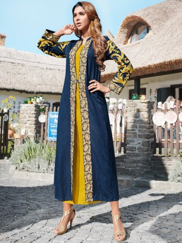 https://static7.cilory.com/372845-thickbox_default/navy-blue-yellow-kurti-with-attached-robe.jpg