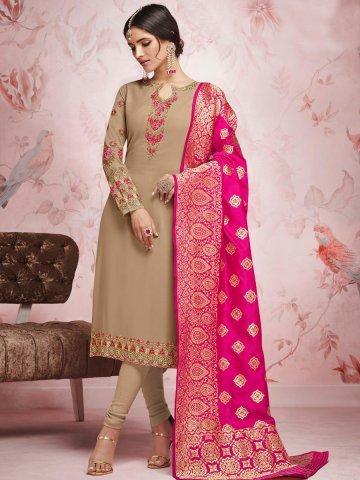 5e6dcf5fab ... Suit with Banarasi Dupatta.  https://static9.cilory.com/374093-thickbox_default/brown-