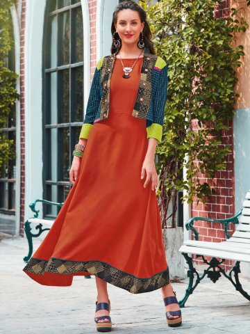 https://static5.cilory.com/374482-thickbox_default/rust-rayon-cotton-kurti-with-blue-printed-jacket.jpg