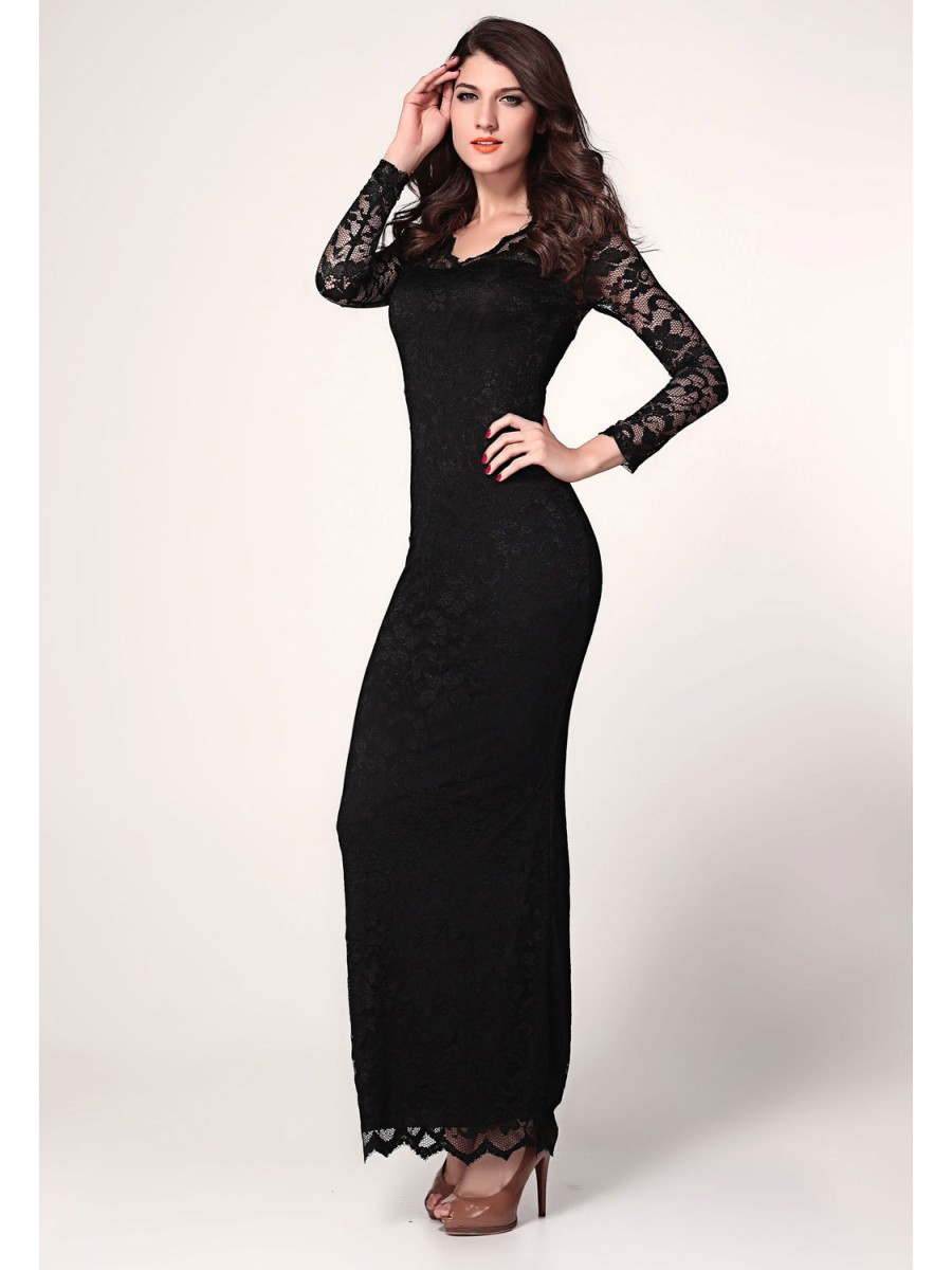 Black Lace Long Sleeves Maxi Dress | E6193-2 | Cilory.com
