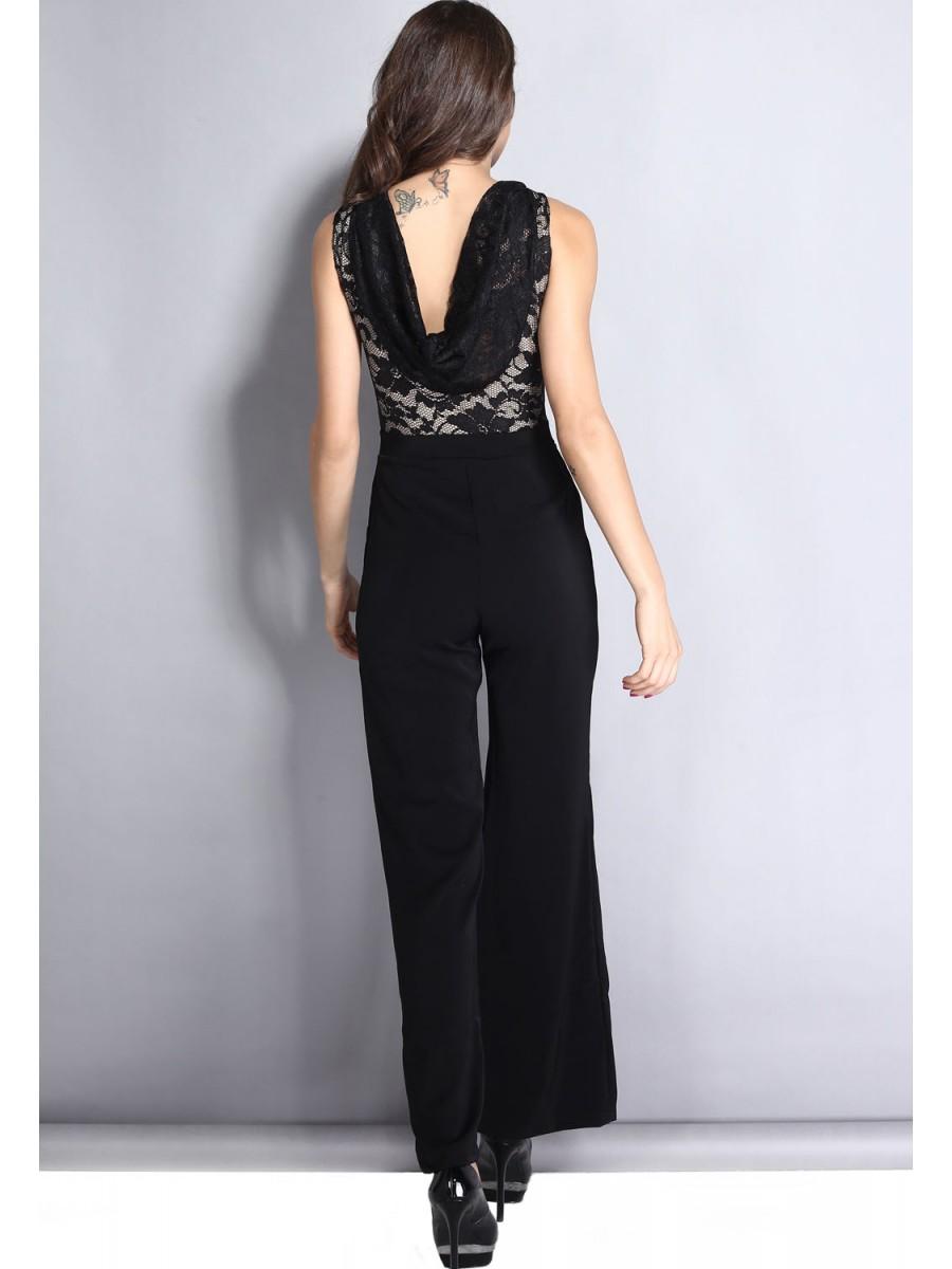 Elegant Black Jumpsuit With Cowl Back E6496 Cilory Com